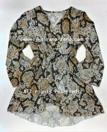 FRSU2685 jurk camel slangen print (6pcs)