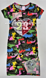 ZM5139 maxi jurk  roze/geel(6 pcs)