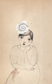 Girl with silk flower
