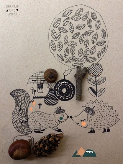 Squirell and hedgehog in forest