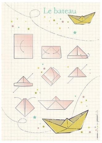 Origami bateau - rose