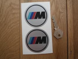 """""""M"""" sticker zilver d=65 mm (2 stuks, Nieuw)"""