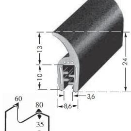 Motorkaprubber L=1360mm (Repro, Nieuw)