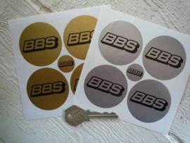 """""""BBS"""" sticker  d=50 mm goud (4 stuks, Nieuw)"""