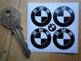 """""""BMW"""" sticker zwart-wit d=25 mm (4 stuks, Nieuw)"""