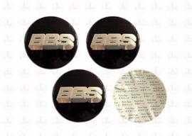 """""""BBS"""" domesticker d=70 mm zwart - zilver (4 stuks, Nieuw)"""