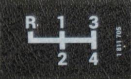 Getrag 4-bak schakelpatroon sticker 38x20mm (Nieuw)
