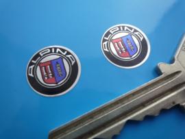 """Alpina"" sticker chrome d=15 mm (2 Stuks, Nieuw)"
