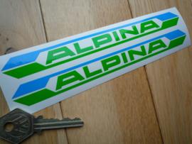 """""""Alpina"""" tekst Blauw-Groen 190x18 mm (Nieuw)"""