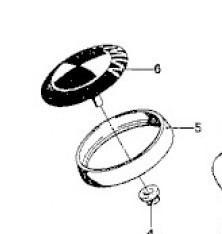 Base embleem motorkap (nummer 5) (Nieuw)