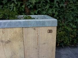 Steigerhouten plantenbak met verzinkt staal; Stabilo Medium