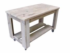 Tafel Dick, steigerhouten tafel op wielen