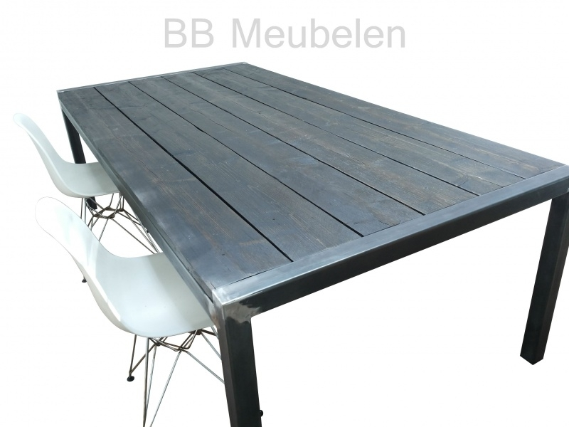 Tafel Stabilo-industrieël, stalen tafel met steigerhouten blad