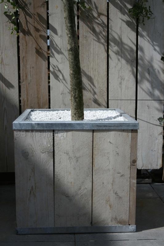 Steigerhouten plantenbak met stalen frame; Stabilo Kubus