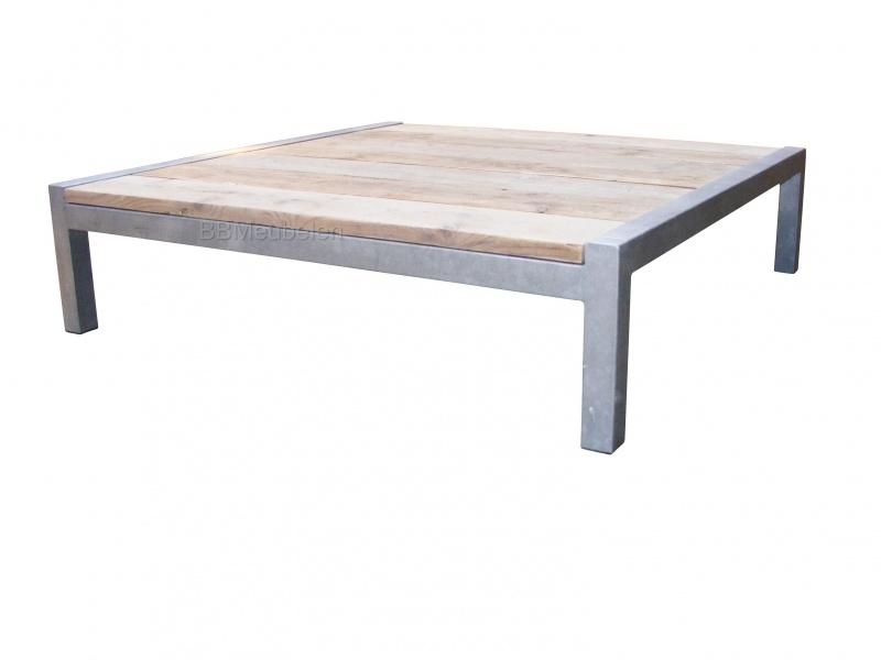Tafel Stabilo Relax, loungetafel van verzinkt staal en steigerhout