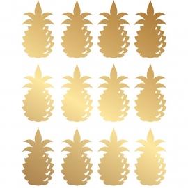 muursticker folie ananas goud