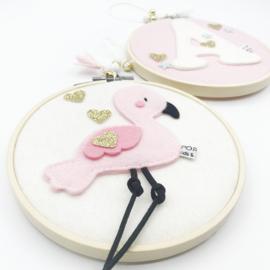 vilt schilderijtje set flamingo