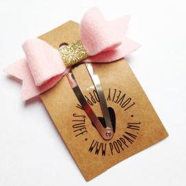 haarknipje strik roze goud