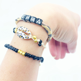 Naam armbandjesset tijger/zwart/goud