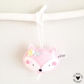 decoratie hanger vosje roze