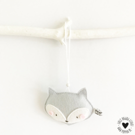 decoratie hanger vosje grijs
