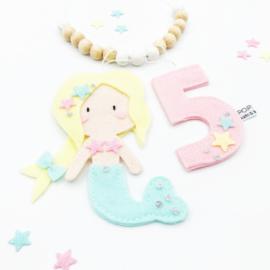 vilt verjaardagsketting zeemeermin