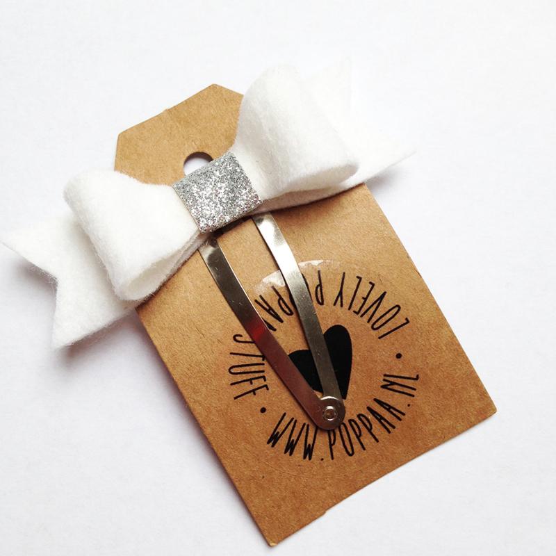 haarknipje strik wit zilver