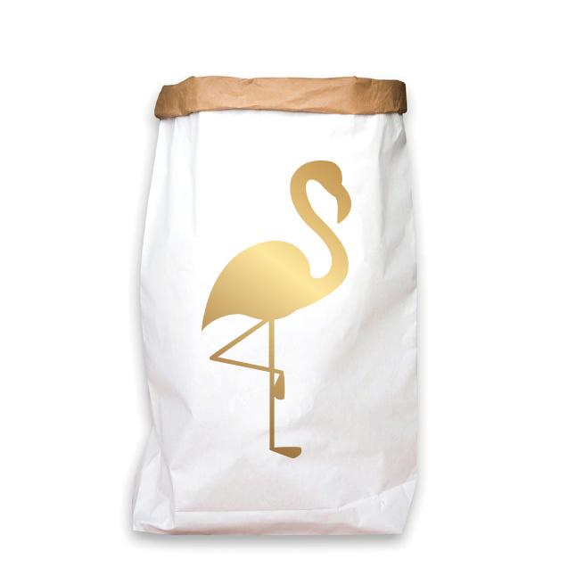 paperbag goud flamingo