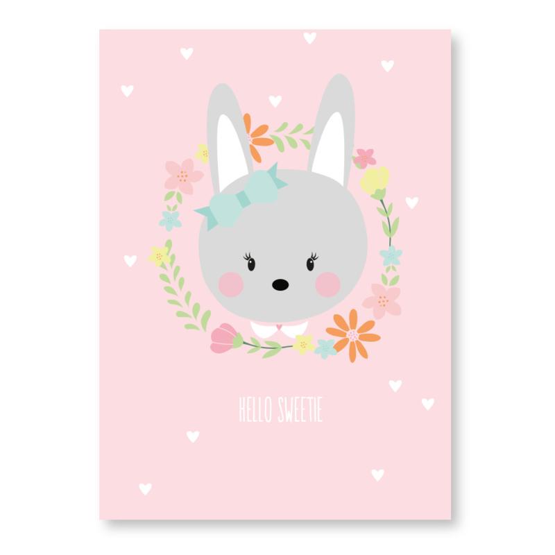 kaart konijn hallo sweetie