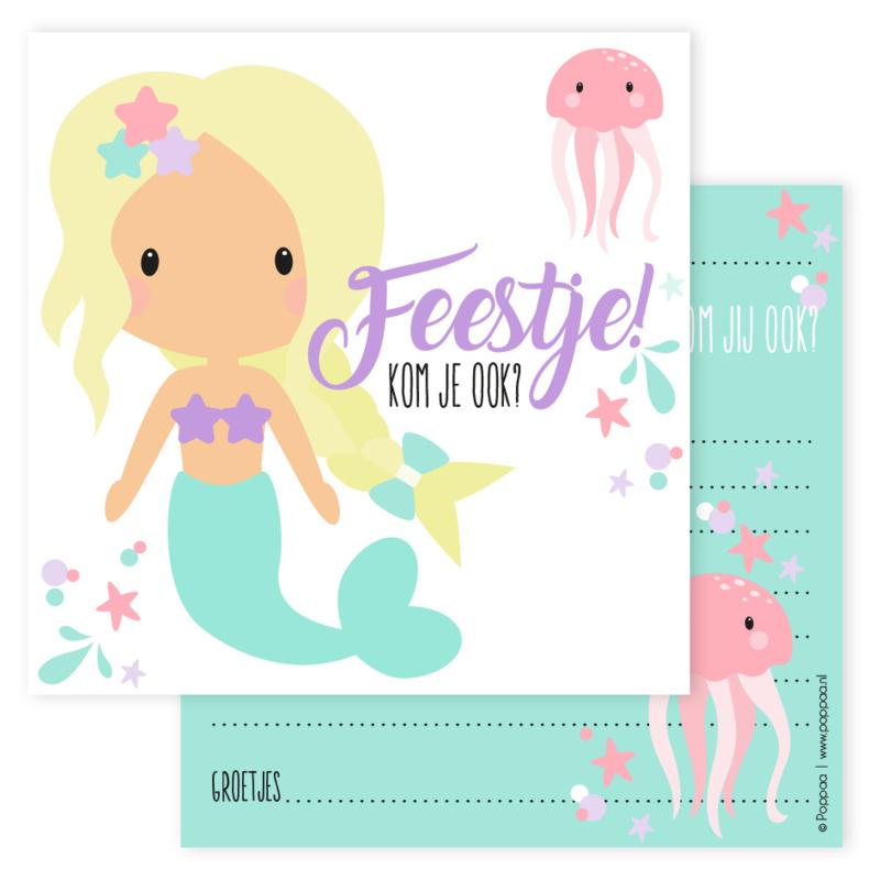 uitnodiging zeemeermin blond