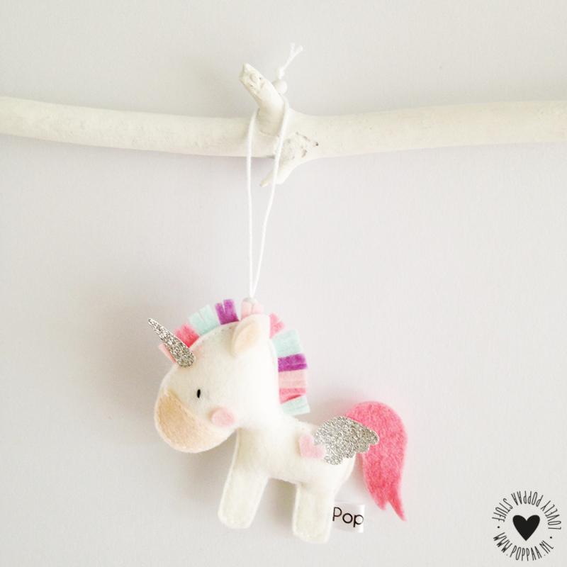 decoratie hanger eenhoorn mintgroen/lila/roze