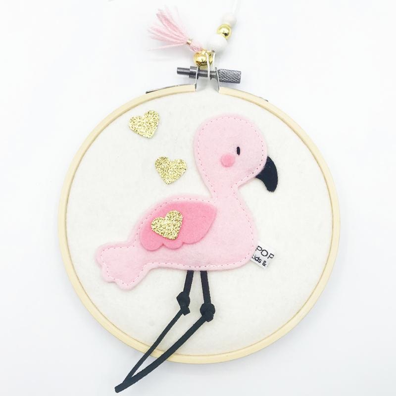 vilt schilderijtje flamingo