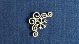 Hoeken Kerst ijsster 3,3 cm 1,5mm dik chipboard 4 stuks