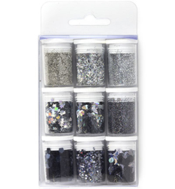 Glitter Set - Silver, assorted