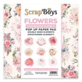Scrapboys POP UP Paper Pad double sided elements - Flowers / Roses POPFL-01 190gr 15,2x15,2cm