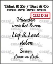 Crealies Clearstamp Tekst & Zo 3x Vrienden (NL) CLTZD28 3x 30mm