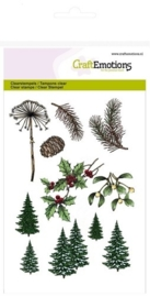 CraftEmotions clearstamps A6 - Christmas Nature – Kerstbomen, Takken