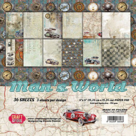 Craft&You Man's World Small Paper Pad 6x6 36 vel CPB-MAN15