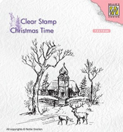 Nellie`s Choice CT027 - Wintery scene with church & reindeer