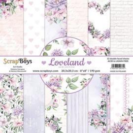 ScrapBoys Loveland new edition paperpad 12 vl+cut out elements-DZ NE-LOLA-10 190gr 20,3x20,3cm