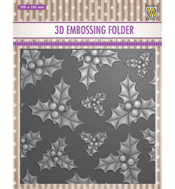 Nellie`s Choice - EF3D014 - Christmas serie: -holly leaves & berries-