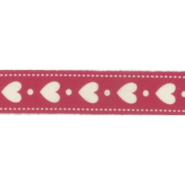 Ribbon 15mm hearts and dots - per meter