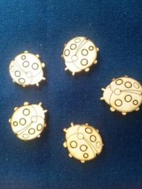 Lieveheersbeestjes 2,5 cm zakje met 5 stuks. 3mm dik Houtboard