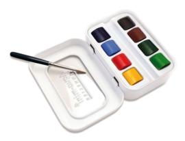 Sennelier L`aquarelle set 8 halve napjes + 1 penseel