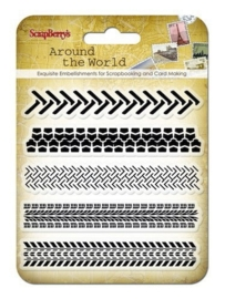 ScrapBerry's Set Of Clear Stamps 10,5 x 10,5 cm Around The World Traces (SCB4901009)