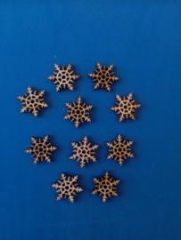 Sneeuwvlokken 10 stuks van 2,2 cm (3mm dik) hout