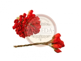 Mini Semi Open Rose Buds - Red