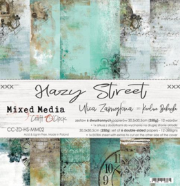 "Paper Collection Set 12""*12"" Hazy Street, Mixed Media, 250 gsm"