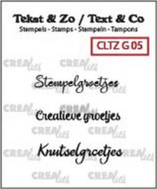 Crealies Clearstamp Tekst&Zo Groetjes 5 (NL) CLTZG05 3x max 31mm