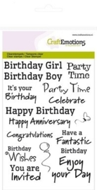 CraftEmotions clearstamps A6 - tekst EN Birthday